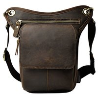 Wholesale Travel Camera Shoulder Bag - Vintage Genuine Leather Men's Shoulder Bag Messenger Bag Leg Pack Waist Fanny Camera Phone Tool Kit Bags For Travel