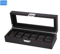 Wholesale knitted leather watch - 2017 Luxury Black Stripe Knit Leather 6 Slots Jewelry Watches Display&Storage Retail Carbon Fiber Box Case Collect Be Well Box