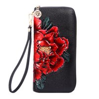 Wholesale cluth bags - Fresh 3D Flower Carving Women Genuine Leather Long Wallet Zipper Multifunctional Female Wallet Leather Luxury Evening Cluth Bags