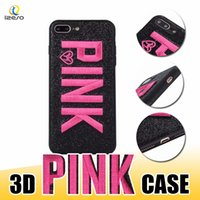 Wholesale 3d Silicone Phone Cases Wholesale - LOVE PINK Cover Case Glitter Soft Silicone Shell 3D Embroidery Shinny Pink Phone Cases for Samsung S9 S9Plus iPhone X 8 Plus HUAWEI