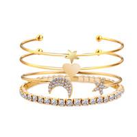pulseira de ouro indiano venda por atacado-Estrela de prata de ouro coração da lua de cristal pulseira charme pulseiras para as mulheres amantes do vintage bangle boho jóias indianas Pulseras 2018