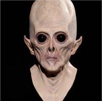 lateks yabancı maskeleri toptan satış-Korkunç Silikon Yüz Maskesi Gerçekçi Alien Ufo Ekstra Karasal Parti Et Korku Kauçuk Lateks Kostüm Partisi Için Tam Maskeleri