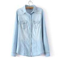 Wholesale denim womens shirt - Winter Clothes Denim Shirt Women Clothing Vintage Jeans Shirt Womens Jeans Blusas Long Sleeve Casual Blouse Cowboy Shirt Spring