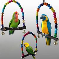 balançoires en bois achat en gros de-Oiseau Cockatiel Cage Hamac Swing Jouets Perroquet Chew Jouet Nouveau En Bois Pet Formation Accessoires Coloré 12 5hz3 CC