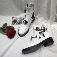 ingrosso stivali neri del cavaliere-Stivaletti Martin di marca Top di lusso in Black Chunky Heel Platform Knight Stivali in pelle Designer Designer in pelle di mucca taglia 34-41