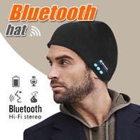 şapkalar bluetooth kulaklıklar toptan satış-Bluetooth Şapka Kasketleri Akıllı Kış Örgü Şapka V4.1 Kablosuz Musicl Kulaklıklar Kulaklık Perakende Kutusu içinde Stereo Hoparlör Eller-Serbest ile Yumuşak Sıcak