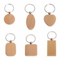 llaveros de madera al por mayor-30pcs personalizar bricolaje en blanco de madera llavero del rectángulo del corazón Ronda Elipse talla el anillo dominante de madera de cadena y anillo