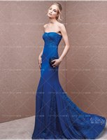Wholesale Silk Wrap Robe - new design robe de soiree vestido de festa blue lace and chiffon long evening Dress sexy mermaid sweetheart 2018 sleeveless