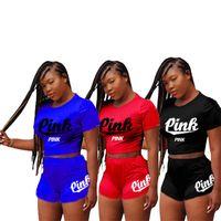 Wholesale shorts suit set for women online - Lady T Shirt Shorts Suits Fashion Casual Tracksuit For Woman Letter Pink Print Clothing Two Piece Set lr C