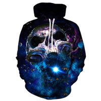 harajuku galaxy hoodies al por mayor-Cloudstyle Galaxy Skull 3D Hoodies Hombres Skull Blue Wormhole 3D Print Streetwear Pullovers Tops Harajuku Fashion Plus Size 5XL