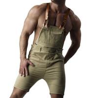 плюс подтяжки комбинезонов оптовых-2018 Mens Casual Retro Denim Bib Overall Shorts Suspender Pants Summer Autumn Jeans Jumpsuit For Gay Men Rompers Plus Size 5XL