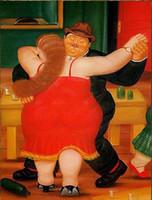 sanat resim dansçıları toptan satış-El-boyalı Portre Sanat yağlıboya Fernando Botero Yağ dansçı Tuval Üzerine, Wall Art Ev Dekorasyonu Ücretsiz Nakliye Çok boyutları / Çerçeve Seçeneği fr20