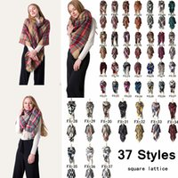 Wholesale oversize plaid scarf online - 140 cm Unisex Winter Plaid Scarf Square Scarves Oversize Blanket Wrap Cashmere Scarf Shawl Fashion Plaid Warm Blanket Scarf AAA934