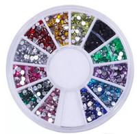 juego de decoración de uñas al por mayor-¡¡¡En stock!!! Nail Art Glitter Tip 2mm Rhinestone Deco con rueda 1200 piezas set Envío gratis 2000set