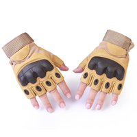 Wholesale military black gloves - Tactical Fingerless Gloves Military Army Shooting Paintball Airsoft Bicycle Motorcross Combat Hard Knuckle Half Finger Gloves