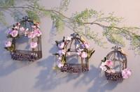 ingrosso decorazione del giardino degli uccelli-Gabbia per uccelli in ferro battuto a muro Portafiore e mensola per decorazione a parete in stile americano Paese Retro Toro del giardino Balcone esterno