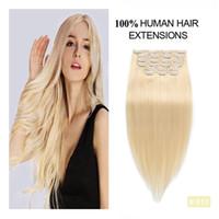 pelo rubio largo blanqueado al por mayor-Bleached Blonde Full Head Clip en cabello humano Extensiones clips sin costura Fabrica cabello largo recto Remy Human