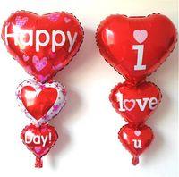 ingrosso palloncini di cuore di compleanno-50 p / lotto 36 pollici san valentino matrimonio baloon ti amo foil palloncini baloes cuore rosso elio ballons decorazione festa di compleanno