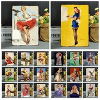 Wholesale sexy paintings art online - 20 cm Vintage Retro Metal Sign Poster Modern Sexy Girls Posters Plaque Club Wall Home art metal Painting Wall Decor FFA972