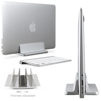 Wholesale Adjustable Laptop Holder - Aluminum Vertical Laptop Stand Thickness Adjustable Desktop NoteBooks Holder Erected Space-saving Stand for MacBook Pro   Air