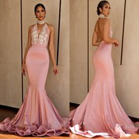 Wholesale halter mermaid prom dresses - Pink Halter Sexy Prom Dresses 2018 Deep V neck Beads Satin Backless Party Dress Count Train Mermaid Evening Gowns