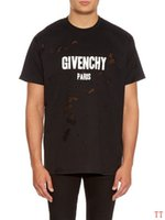 ingrosso arte popolare americana-givenchy 18ss Summer Street wear Europa Paris Fashion GIV Magliette Uomo Alta qualità Big Broken Hole Cotton Tshirt Casual T-Shirt donna T-shirt S-XL