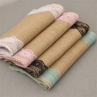 Wholesale wedding table runners colors for sale - Group buy Natural Jute Table Runner Vintage Multi Colors Lace Tablecloth For Wedding Party Christmas Day Decorations Fashion Popular tn CB