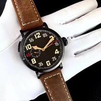 relógio super luminoso venda por atacado-Novo estilo piloto série moda mens assistir 45mm mostrador preto pulseira de couro marrom relógios super luminosa safira relógios masculinos automáticos