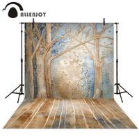 фото фото оптовых-Allenjoy photography background Vintage trees winter snow oil painting style backdrop Photo background studio camera fotografica