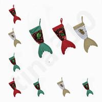 ingrosso sacchetti di paillettes-Calde decorazioni natalizie paillettes calze sirena calza 16 pollici coda di pesce lanciando pezzo di perline calze di natale borsa regalo t7i753