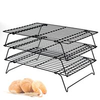 Wholesale Cooler Racks - 3 layers stackable cooling rack metal cake cookies biscuits bread cooling rack net mat holder dry for cooking baking