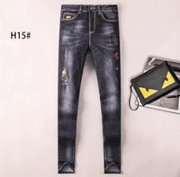 Wholesale 29 32 jeans men - Free Shipping Good quality NEW hot Men's Robin Rock Revival Jeans Crystal Studs Denim Pants Designer Trousers Men's size G-29-40