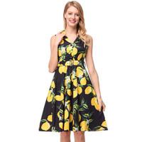 Wholesale women dress skirt wind - Floral Casual Women Dress 2018 spring and summer retro Hepburn wind lapel waist thin large swing skirt print Girl A-line dress