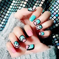 Discount patterned french tips - 24pcs set Vintage Pink and Lake Blue Hit Pure Color Pattern French False Nails With Glue Cute Fake Nails Short Size