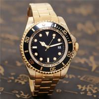 luzes de quartzo venda por atacado-SEA-DWELLER marca relógio automático de luxo da qualidade do homem mais alto esportes militares relógio de pulso tempo de luz amarela porta dourada 44mm relógio de quartzo