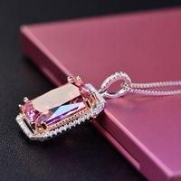 925 silber große anhänger großhandel-Großer quadratischer rosafarbener Anhänger mit Diamanten 925er Silberhalskettenatmosphäre