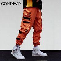 rahat erkek kargo pantolonları toptan satış-GONTHWID erkek Yan Cepler Kargo Harem Pantolon 2018 Hip Hop Rahat Erkek Tatical Joggers Pantolon Moda Rahat Streetwear Pantolon