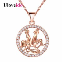 Wholesale aries pendants resale online - Uloveido Rose Gold Color Necklaces Pendants Aquarius Aries Pisces Pendant Sagittarius Constellations Necklace Off N1047
