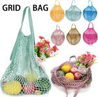 Wholesale fruit bags resale online - Mesh Net Bag String Shopping Bag Reusable Fruit Vegetables Storage Handbag Totes Mesh Woven Shoulder Bag OOA5345