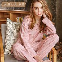 Qianxiu women stripe autumn pajama set lapel long sleeve cardigan pyjamas  women leisure pyjama femme pure cotton Homewear 533c950c9
