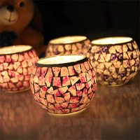 Wholesale glass tea light wedding for sale - European Mosaic Candlestick Holder Handicraft Glass Tea Light Home Decor Wedding Party Gifts Decoration Without Candle zb Z
