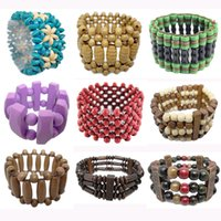 Wholesale green wooden beads - Wooden Bead Bracelet 41 Styles Mix Stretch Strands Chain Watch Style Three Four Five Rows Colorful Round Abacus Wood Beads Bracelets (JM013)