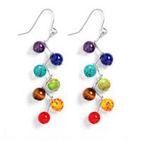 Wholesale yoga earrings - 7chakra Beads Earrings Yoga Jewelry Fashion Long Tassel Women Dangle Earrings 6mm Amethyst Tiger Stone Agate Natural Stone 170796