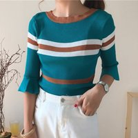 Wholesale Knitwear Sweaters For Women - New 2017 4 Colors Women Sweater Knitwear O-neck Flare Sleeve Thin Pullover Tricot For Summer Autumn C78501