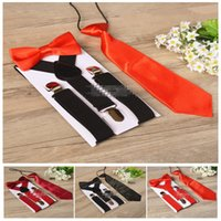 tirantes pajarita set niños al por mayor-Kids Suspenders Bow Tie Set para 1-10T Baby 17 colores Boys Girls Tirantes accesorios Tirantes Elastic Y-back LC677