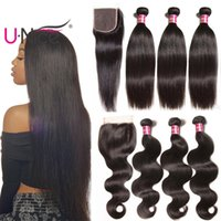 Wholesale bulk resale online - UNice Hair Brazilian Body Wave Bundles With Closure Straight Hair Weave Closure and Bundles Human Hair Extensions Cheap Bulk
