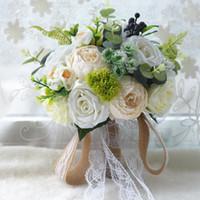 ingrosso fiori popolari-Artificiale Matrimonio Bouquet Da Sposa Popolare Popolare Seta Fiori Di Seta Forniture Matrimonio Sposa Holding Spilla Fidanzamento De Noiva