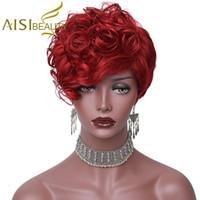 peluca rizada vino al por mayor-Pelucas rizadas cortas de la belleza de Aisi con las pelucas sintéticas del corte del duendecillo del pelo del color rojo del vino de las explosiones para las mujeres negras