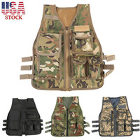 Wholesale camouflage waistcoat - Kids Camo Tactical Vest Outdoor War Game CS Equipment Army Camouflage Military Protective Waistcoat Outdoor Sport Adult 4 Colors AAA99