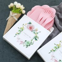 Wholesale white dish sets - 4 Colors Optional Disposable Birthday Cake tableware Suits Fork Knife Dish Plate Fine Gift Box Party Supllies Dinnerware Sets T1I746
